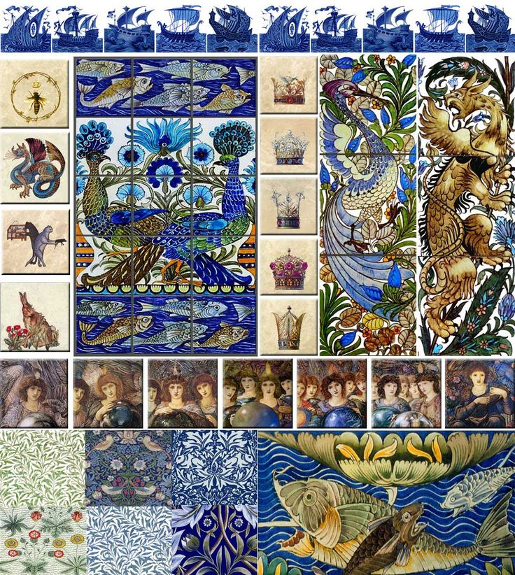 From top left: Wm De Morgan ships, Victorian bee, Fish & Peacocks panel, Flowers & Feathers medieval crowns,  Wm De Morgan Fantastic Bird, De Morgan gryphon, De Morgan dragon, Philip Webb hare from 'The Forest' tapestry, Burne-Jones Days of Creation Angels including the fourth angel that I restored from the existing platinotypes,  Morris Willow design in green and white, Strawberry Thief, Bro Rabbit, De Morgan fish detail, Daisy wallpaper tile, blue and green willow, Membland panel detail