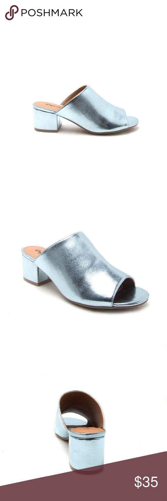 """Blue metallic block heel mule sandal - sz 9 Featured in Instyle! Sold out! The trend shoe this spring/summer! Sz 9, fits true to size. BRAND NEW IN BOX. Vegan leather. Aprox 2"""" heel. Qupid Shoes Sandals"""