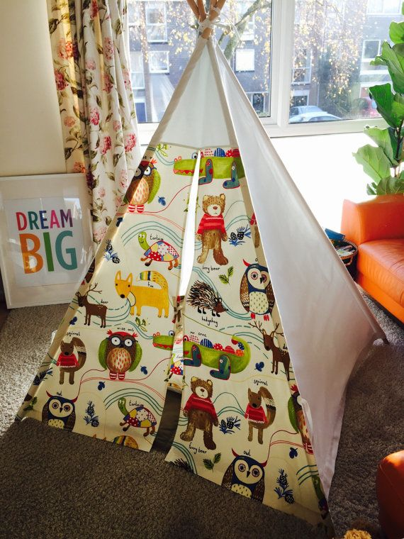 Beautiful Teepee, wigwam, childrens play tent, Nature trail themed fabric+mat+ cushion cover