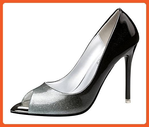 Passionow Women's Dress Gradient Peep Toe Slip-ons Super High Stilettos Heel PU Vamp Pumps (7.5 B(M)US,Silver) - Pumps for women (*Amazon Partner-Link)