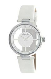Kenneth Cole New York Transparent Dial Leather Strap Watch, 36mm