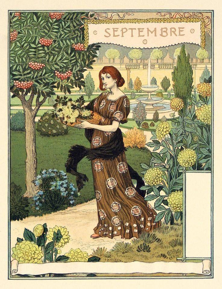 """Календарь """" La belle jardininier""""(Прекрасная садовница) на 1899 год работы не менее прекрасного Эжена Грассе (1845-1917)."""