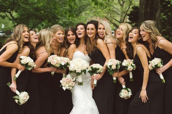Formal bridesmaid dresses - matching, black floor-length gowns {Tyler Boye Photography}
