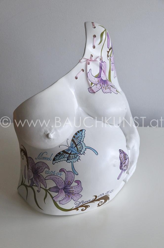 Hand painted Belly Cast, handbemalter Gipsabdruck Babybauch, Pregnancy Art. Angela Harand, www.bauchkunst.at