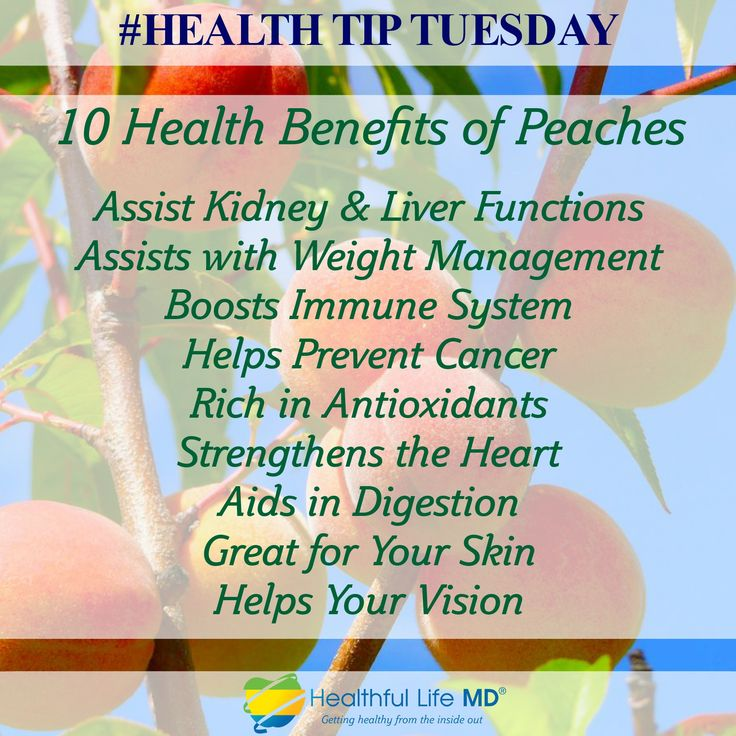 Health Tip Tuesday ~  10 Health Benefits of Peaches!  Assist Kidney & Liver Functions Assists with Weight Management Boosts Immune System Helps Prevent Cancer Rich in Antioxidants Strengthens the Heart Aids in Digestion Great for Your Skin Helps Your Vision  #healthtiptuesday #healthfullifemd #peaches #10healthbenefitsofpeaches