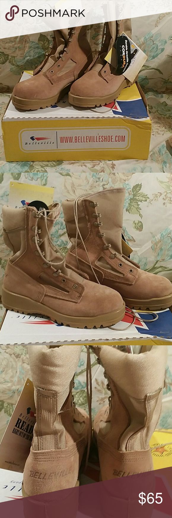 WOMENS MILITARY COMBAT BOOTS Brand new pair of women's desert combat boots.  These boots are $220 on the manufacturer's website.  I have a pair and they are surprisingly comfortable.  NWT. BELLEVILLE Shoes Combat & Moto Boots