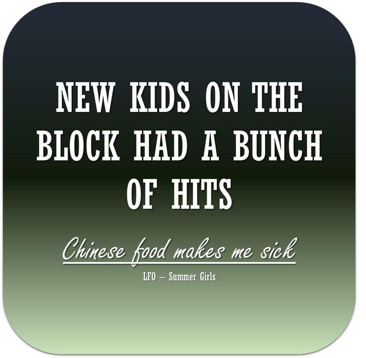 New Kids On The Block Chinese Food Lyrics