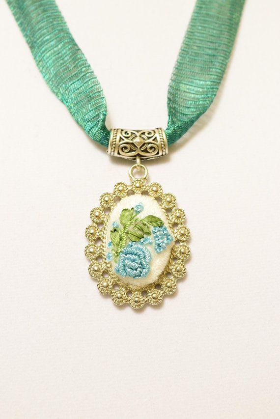 Elegant embroidered Flower Necklace by Anatoliagems on Etsy