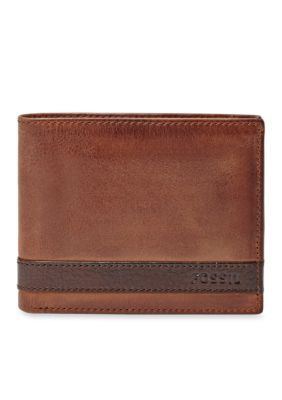 Fossil Men's Quinn Leather Bifold With Flip Id Wallet - Brown - One Size