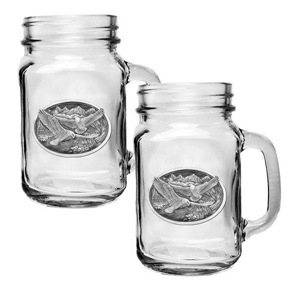 Eagle Mason Jar Mug Set of 2 | Eagle Drinkware | Heritage Pewter