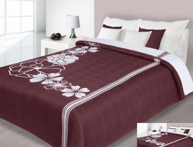 Bordové obojstranné prehozy na posteľ vzor kvet