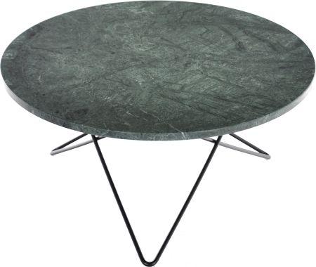 O-table Grön marmor 80 cm diam. H: 40 cm svart OX