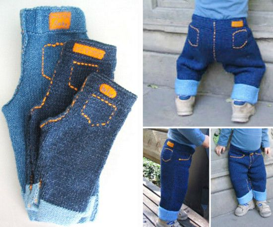 Knitted Baby Cuffed Jeans Free Pattern