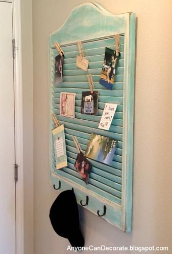 Take an old shutter and turn it into a functional home organization tool! Love! (would also be good for displaying pictures or to use for little girls hair accessories!)