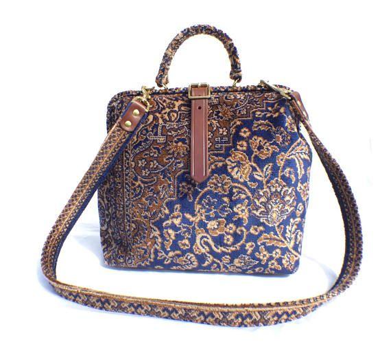 Carpet Shoulder Bag 'Blue Medallion' Designed and