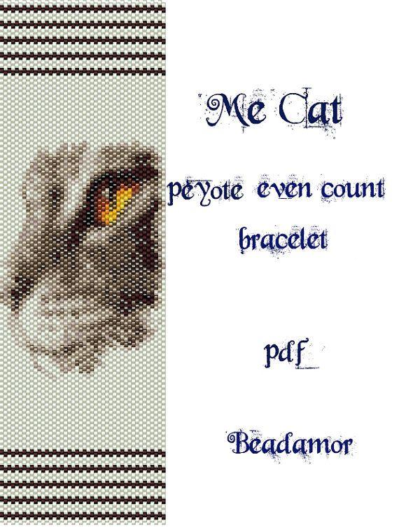 Peyote Pattern for bracelet: Me Cat - INSTANT DOWNLOAD pdf