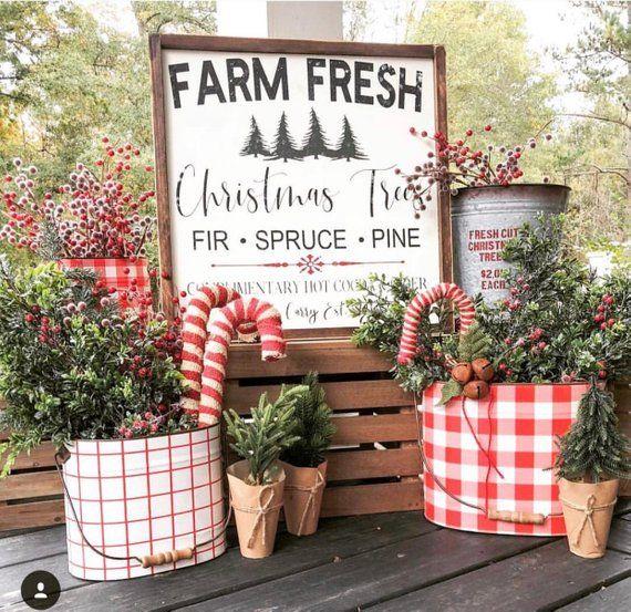 Farm Fresh Christmas Trees 30×30, farmhouse decor, rustic sign, wood sign, farmhouse sign, Christmas Sign