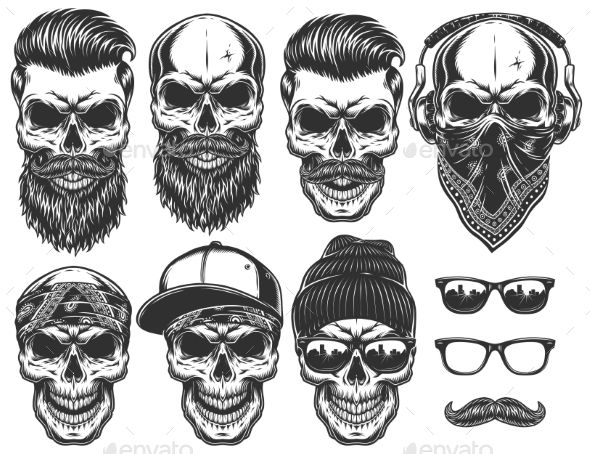 Set of Different Skull Characters - Tattoos Vectors