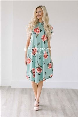 Cute Mint Pink Floral Pocket Modest Dress Bridesmaids Dress, Church Dresses, dresses for church, modest bridesmaids dresses, trendy modest dresses, modest womens clothing, affordable boutique dresses, cute modest dresses