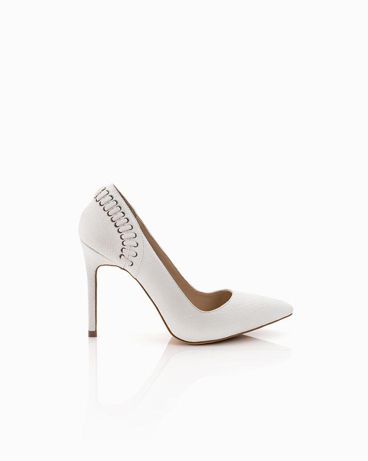 8ef0e20283c6 Lulu white snake heel with braid detail