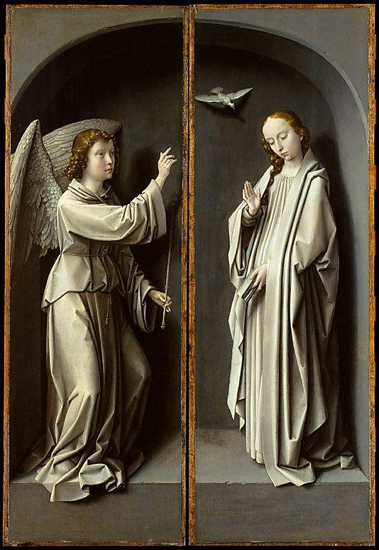 Archangel Gabriel. The Virgin Annunciate  Gerard David  (Netherlandish, Oudewater ca. 1455–1523 Bruges) in the Met.