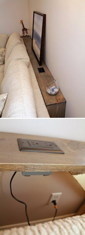This DIY Sofa Table Behind Built In Outlets Allows You Plug In Your Electronics Easily. Or behind a bed.