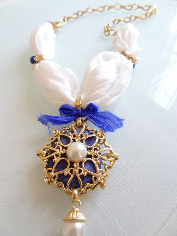 Cobalt blue goldplated pendant white raw silk by sevinchjewelry, $48.00