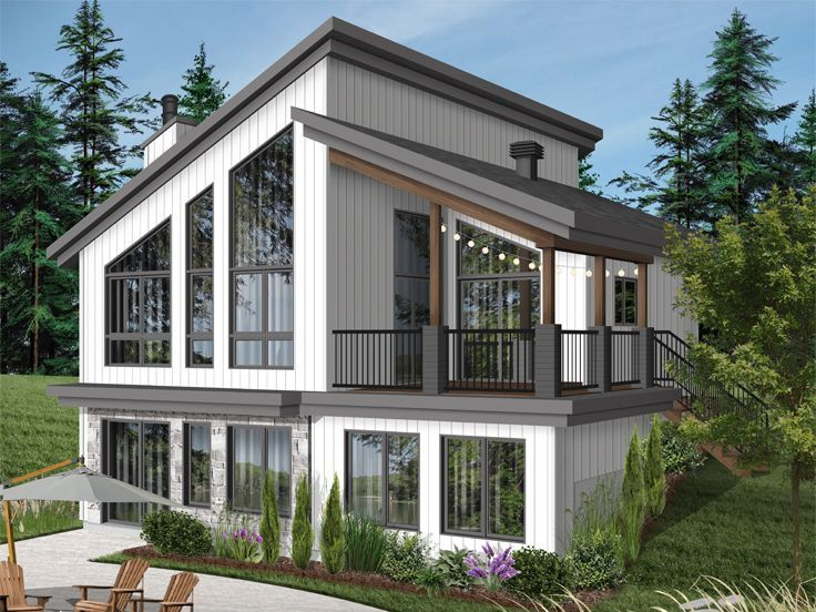 027H-0505: Waterfront House Plan Fits a Narrow Lot ... on