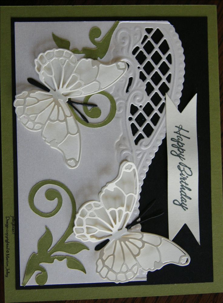 This simple card is made with dies from Marianne Design, Memory Box - Butterflies