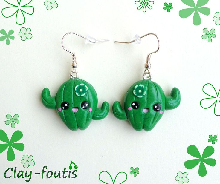 Boucles d'oreilles fimo kawaii geek jolis cactus couleur vert tendre : Boucles d'oreille par clay-foutis