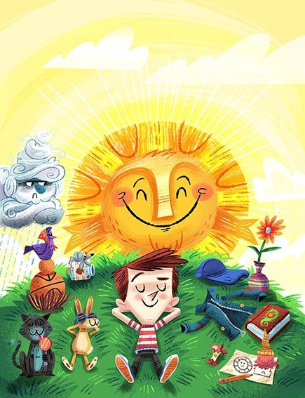 A boy basks in the warmth of our Wind and Sun fable. Illustration by Luke Flowers (http://www.lukeflowerscreative.com). In Storytime Issue 12 ~ STORYTIMEMAGAZINE.COM