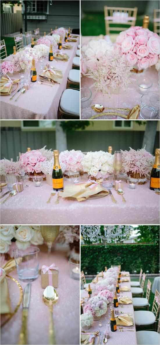 Gorgeous use of gold and pink for a bridal shower - Personal bottle of champagne and favor placed at each setting.