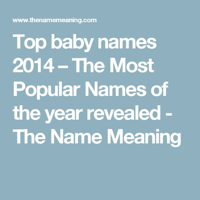 Top baby names 2014 – The Most Popular Names of the year revealed - The Name Meaning