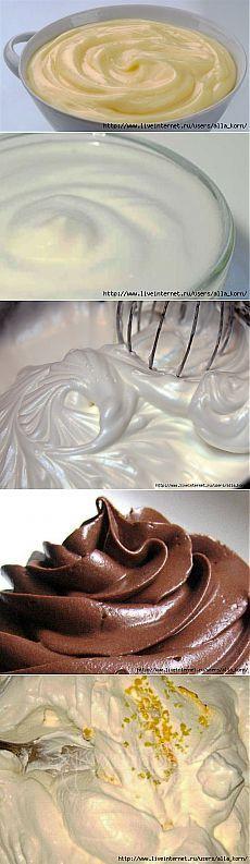 Огромная коллекция кремов и глазурей для тортов и десертов.