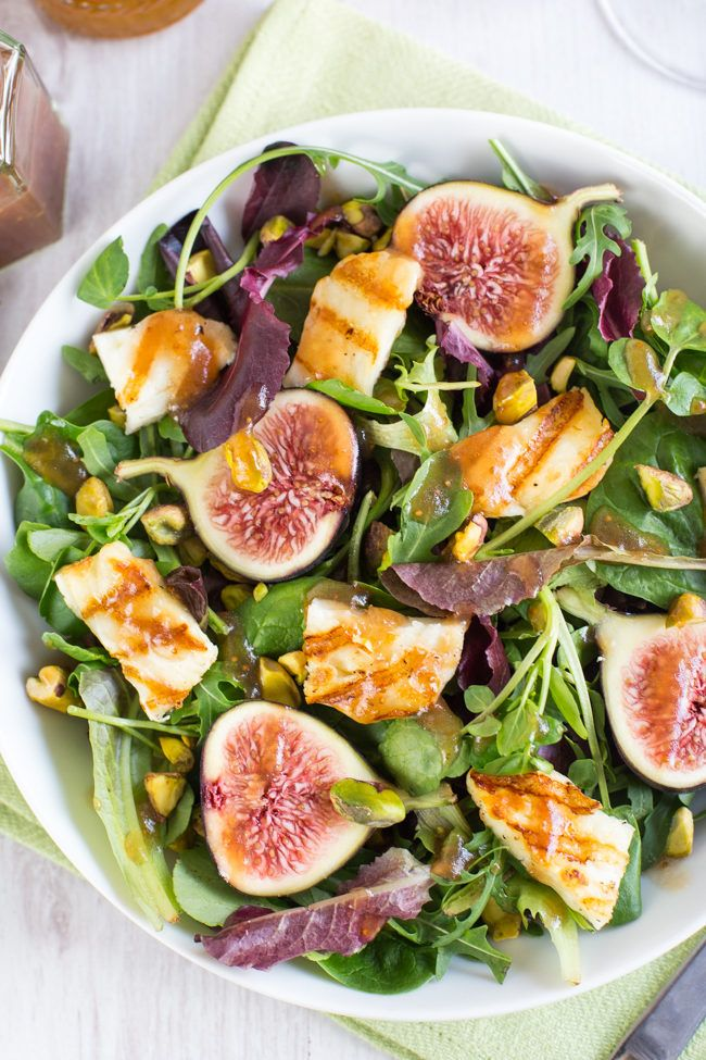 Fig and halloumi salad with balsamic fig dressing