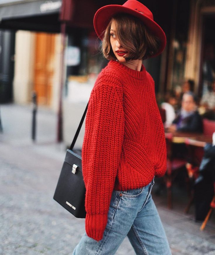 #red #oversized #sweater #cozy #streetstyle