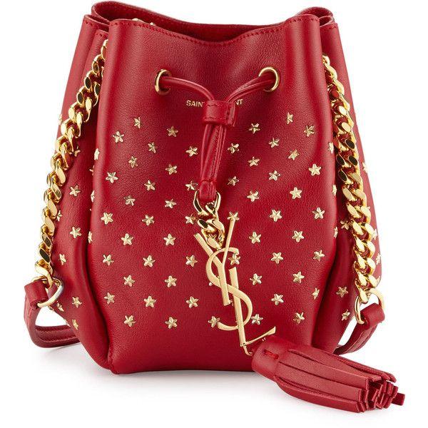 cb97ec7fcc83 Saint Laurent Monogram Small Star Studded Bucket Bag ( 1