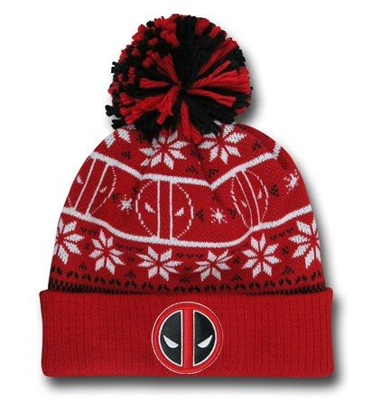 Deadpool Symbol Knit Pom Pom Beanie Hat