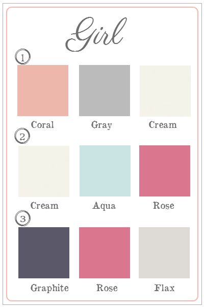 Color schemes for a baby girl's nursery. So pretty!