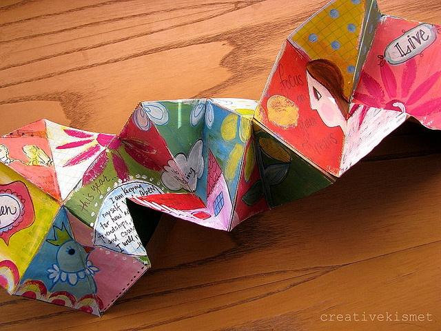 Caterpillar book made from brown paper bag. Teabag folded units glued together. inspiration booklet by Regina (creative kismet), via Flickr