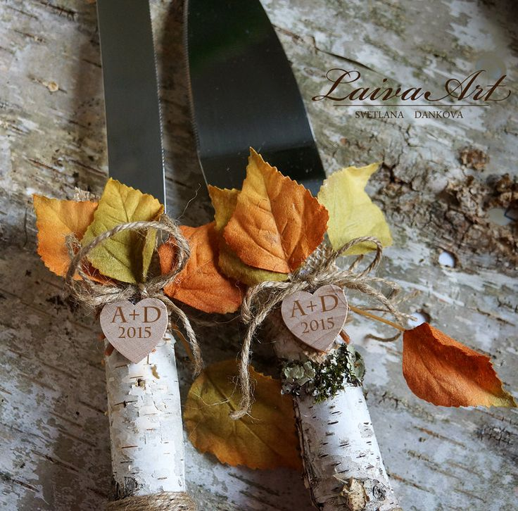 Personalized / Rustic / Fall / Wedding / Cake Server Set / Knife / Rustic / Outdoor / Holidays / Barnyard / Fall Wedding - pinned by pin4etsy.com