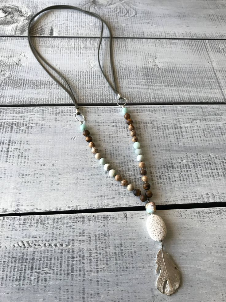 Natural Gemstone necklace, Diffuser Necklace, Amazonite necklace, Gemstone jewelry, Womens Necklace, Jasper necklace, Feather Pendant by BarefootCreationsDV on Etsy https://www.etsy.com/ca/listing/562256818/natural-gemstone-necklace-diffuser