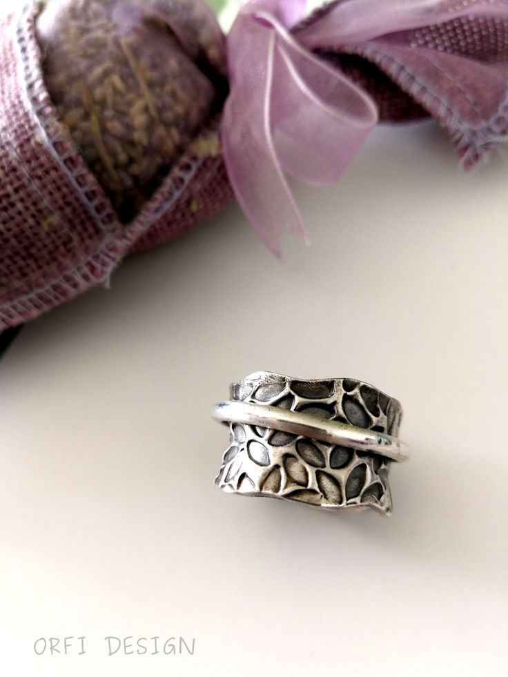 Silver clay spinner ring...