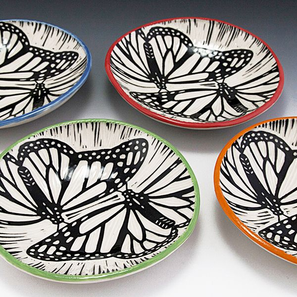 Sgraffito butterfly bowls.