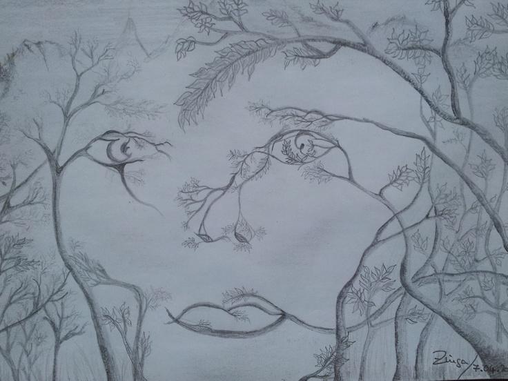 Arbre femme - dessin unique crayon gris - papier - 21 x 14