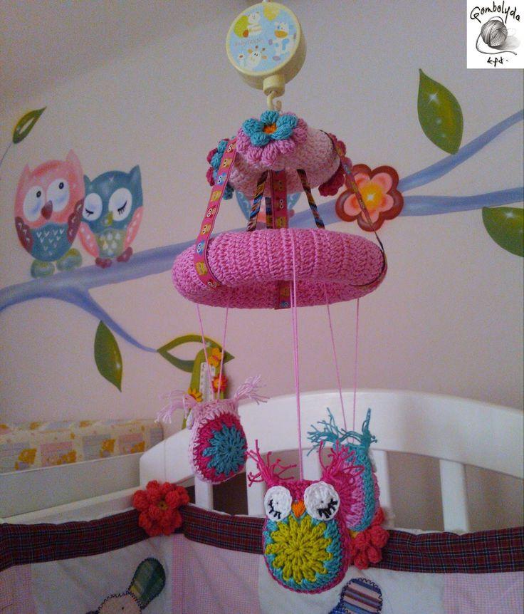GOMBOLYDA: Baglyos forgó kiságyra - horgolva (crochet owl)
