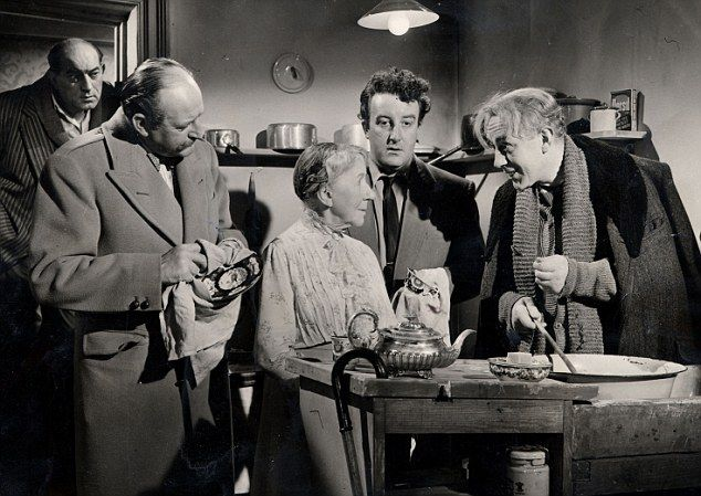 Charmers (from left to right): Danny Green, Cecil Parker, Katie Johnson, Peter Sellers and Alec Guinness in a scene from the 1955 Ealing Comedy, The Ladykillers