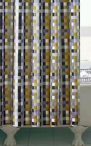 Retro-Mustard-Yellow-SHOWER-CURTAIN-180cm-NEW-Grey-Geometric-Squares-Design