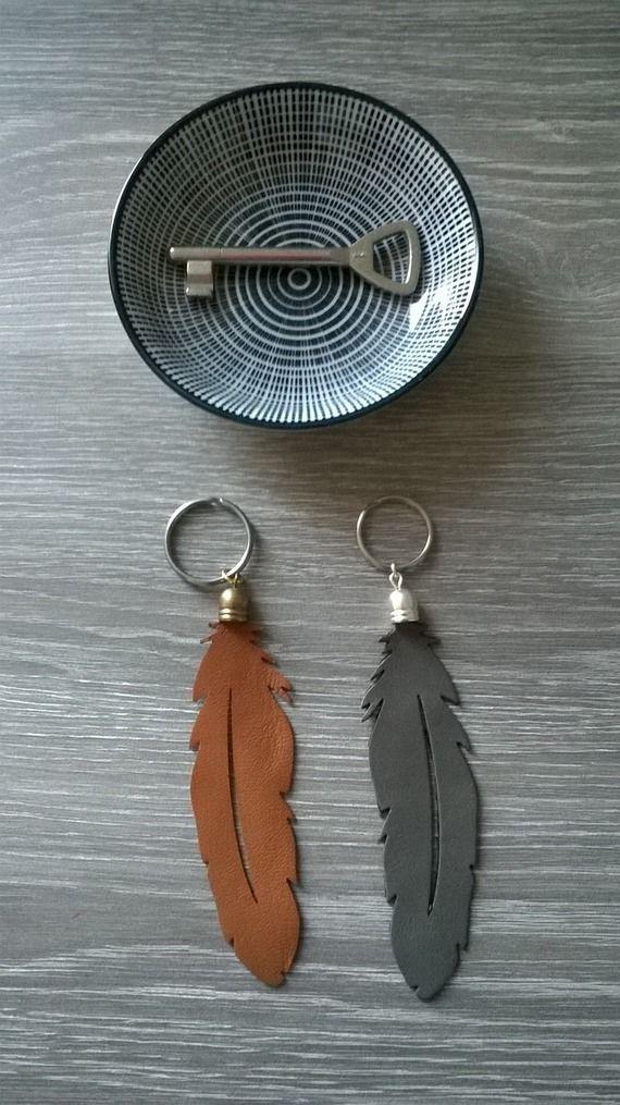 Porte clef plume en cuir coloris gris