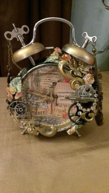 Vintage/Steampunk Altered Alarm Clock by KittysScrapPost for $75.00